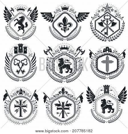 Old style heraldry heraldic emblems vector illustrations. Coat of Arms collection vector set.