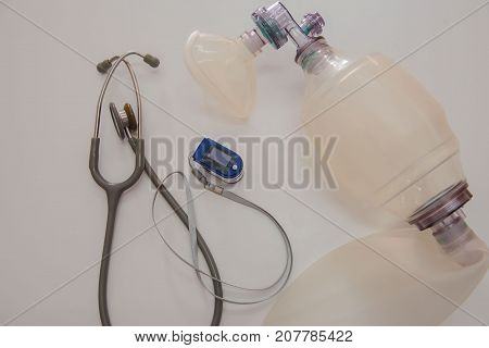 Top view set Medical equipment on a white background .