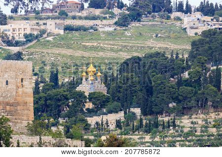 Orthodox Church Of Maria Magdalena With Golden Domes On Mount Of Olives