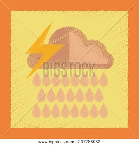 flat shading style icon nature thunderstorm rain cloud