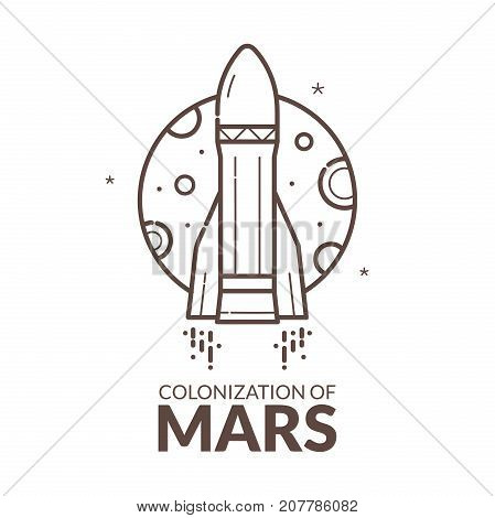 Colonization of Mars, concept design, black and white vector illustration