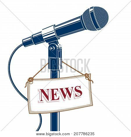 Stage microphone vector illustration isolated on white with news label. Social announcement press interview.