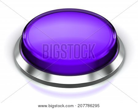 3D render illustration of the purple glossy push press button or icon with shiny metal bezel isolated on white background with reflection effect