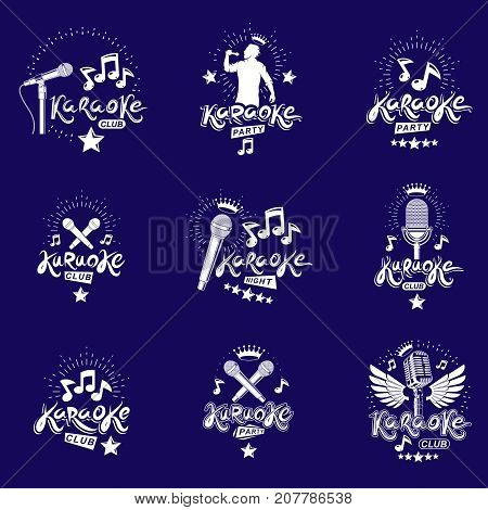 Collection of vector design elements which can be best used for karaoke theme emblems and posters composition. Leisure and relaxation lifestyle presentation carnival concept.