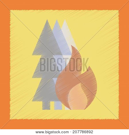 flat shading style icon nature forest fire