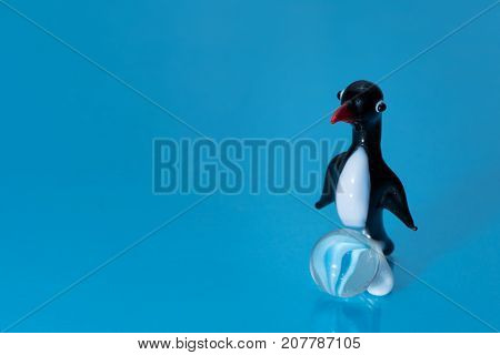 Glass Figurine Of A Cute Little Penguin With A Red Beak