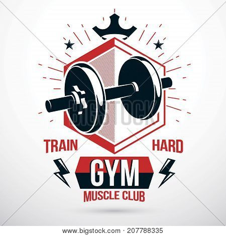 Vector symbol composed with dumbbell and royal crown heavy load power lifting championship emblem