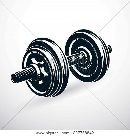 Dumbbell vector illustration isolated on white with disc weight. Sport equipment for power lifting and fitness training.