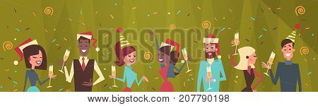 People Celebrate Merry Christmas And Happy New Year Men And Women Wear Santa Hats Holiday Eve Party Concept Flat Vector Illustration
