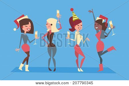 People Celebrate Merry Christmas And Happy New Year Women Group Wear Santa Hats Holiday Eve Party Concept Flat Vector Illustration