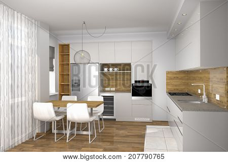 Realistic 3D rendering. Modern creative kitchen design in light interior. Kitchen and living room combined. Interior design.