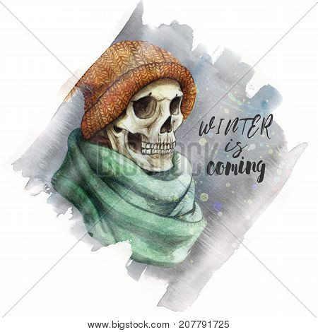 watercolor drawing in the theme of Halloween dull human skull in orange knitted warm woolen hat and green scarf,gray ice, frost, background watercolor stains of gray color, frame for decoration