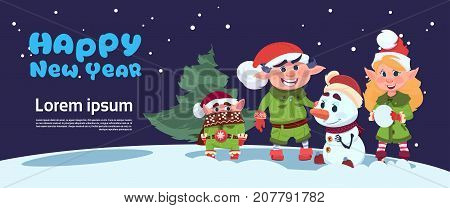 Cute Elf On Happy New Year Greeting Card Merry Christmas Holiday Concept Flat Vector Illustration