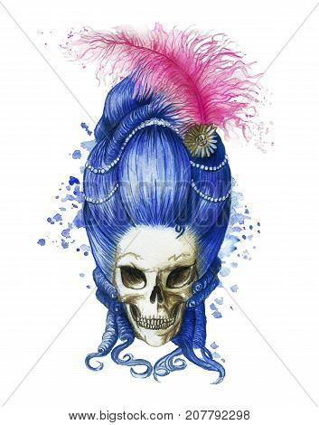 Watercolor drawing of a lady of the 16th century in a tall wig of blue color, a female human skull in a halloween wig with pearl decorations and ostrich feathers of pink color, a print for decoration