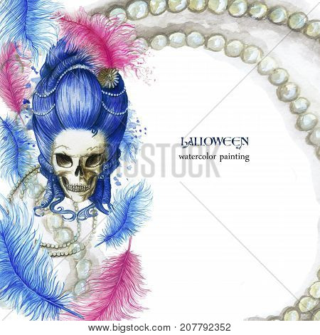 A watercolor drawing, a frame for decor, a pattern, a 16th century lady in a high blue wig, a female human skull in a halloween wig with pearl decorations and ostrich feathers in pink, a print for dec