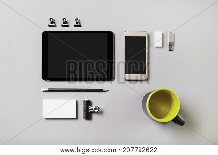 Blank stationery set on gray background. Corporate identity template. ID mockup. Mock up for branding identity. Responsive design mock-up. Top view.