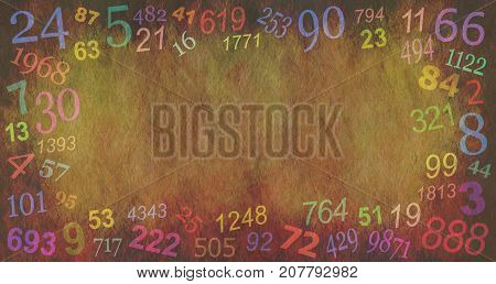 Numerology Numbers border background  -  random multicolored numbers creating a border on a stone effect rustic background with a central copy space