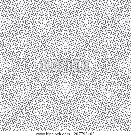 Tiled seamless pattern. Modern stylish texture. Regularly repeating geometric tiles with waved rhombuses diamonds. Vector abstract background