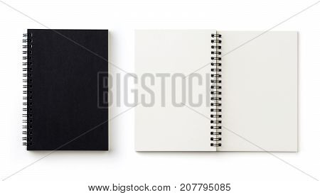 Business concept - Top view collection of black spiral notebook on white background desk for mockup