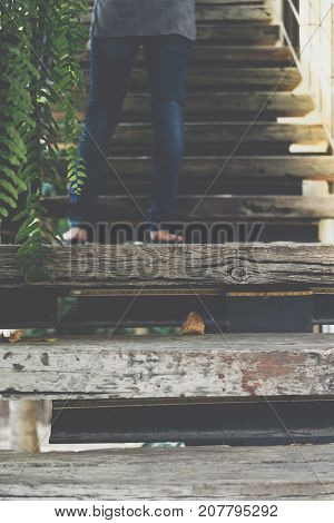 Wooden Staircase Of Home Vintage Style
