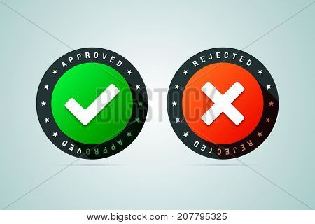 Approved and rejected stamps. Vector sign for testing software or products.