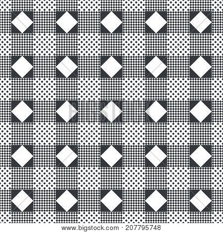 Plaid seamless pattern. Classical tablecloth texture. Checkered fabric background. Regularly repeating geometric tiles with rhombuses diamonds triangles. Vector element of graphical design