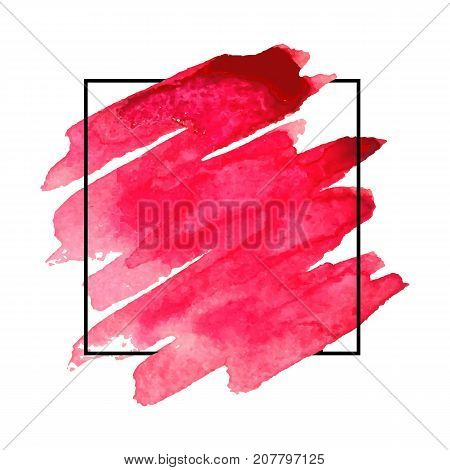 Vector pattern background with brush strokes in watercolor enclosed in square. Original grunge art paint template for headline logo and banner.
