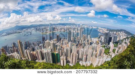 Top view of Hong Kong city sea kowloon city and Hongkong harbor from Victoria peak Hong kong China poster