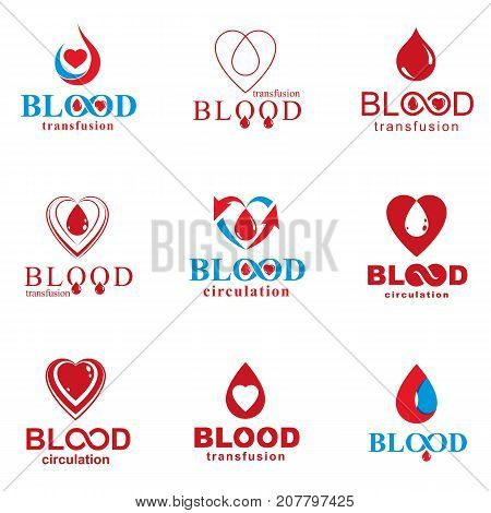 Set of vector blood donation conceptual illustrations. Hematology theme medical treatment designs for use in pharmacy. poster
