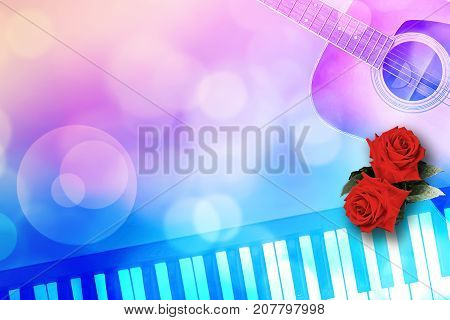Abstract Illustration of Two Red Roses Romantic Valentine Love Song by Guitar and piano on bokeh Background.