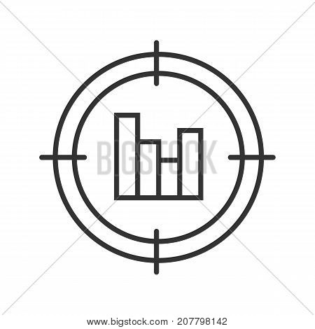 Aim on statistics diagram linear icon. Analyst searching thin line illustration. Finding and analyzing data. Contour symbol. Vector isolated outline drawing