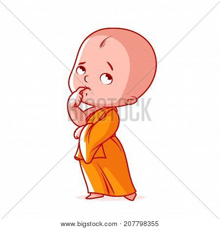 Pensive Little Monk In An Orange Robe.