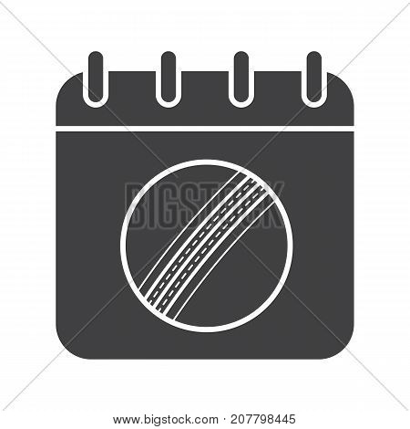 Cricket championship date glyph icon. Silhouette symbol. Calendar page with cricket ball. Negative space. Vector isolated illustration