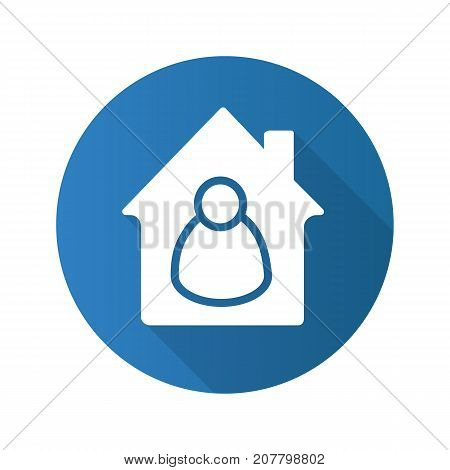 Owner flat design long shadow glyph icon. Tenant, resident, housekeeper. Vector silhouette illustration