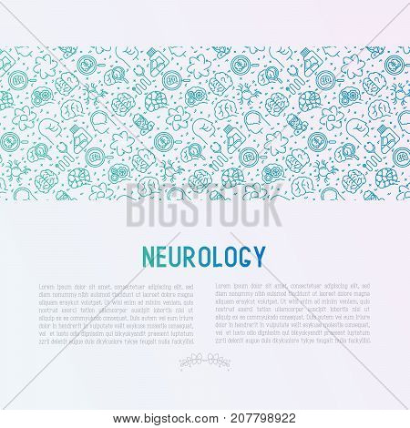 Neurology concept with thin line icons: brain, neuron, neural connections, neurologist, magnifier. Vector illustration for medical survey or report with place for text.