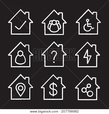 Houses chalk icons set. Home buildings with tick and question mark, people, wheelchair, lightning, map pinpoint, dollar sign, network connection. Isolated vector chalkboard illustrations