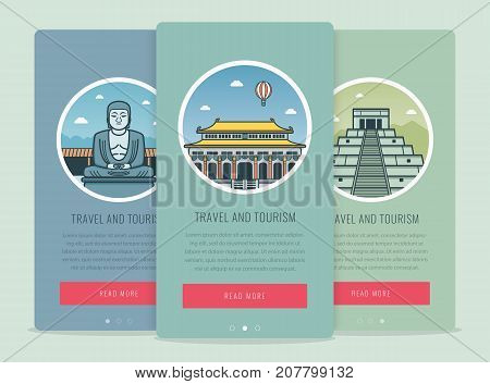 Travel composition with famous world landmarks Kamakura, Chichen Itza, Beijing. Travel and Tourism. Concept website template. Vector illustration
