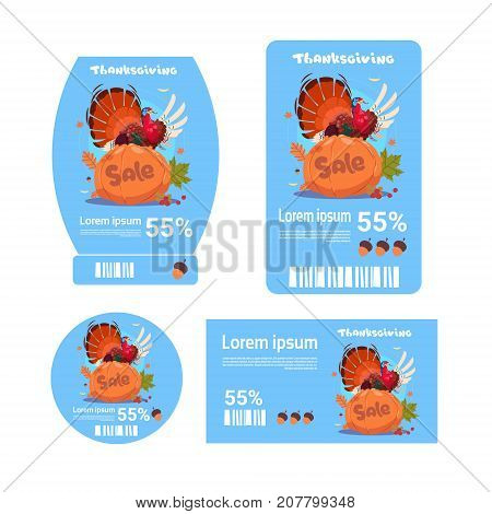 Sale Thanksgiving Day Tags Set Autumn Holiday Discount Price Promotion Icon Collection Flat Vector Illustration