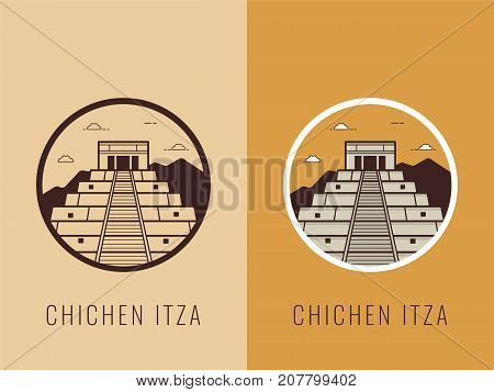 World landmarks. Mexico. Travel and tourism background. Line icons. Vector illustration