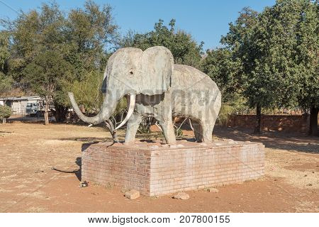 OLIFANTSHOEK SOUTH AFRICA - JULY 7 2017: The Elephant of Olifantshoek (elephant corner) a town in the Northern Cape Province of South Africa