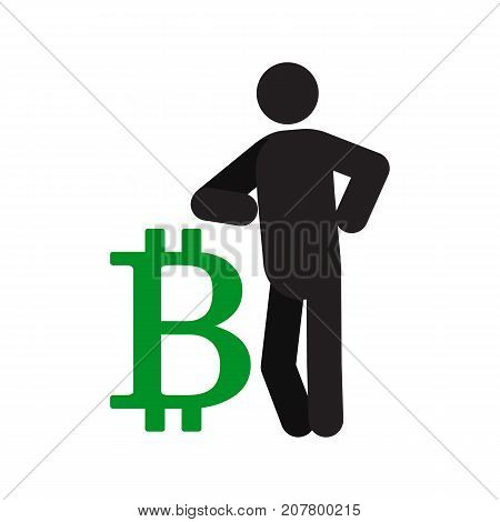 Man lean on bitcoin sign silhouette icon. Businessman, analyst, economist, financier, marketer, manager. Successful and confident person. Isolated vector illustration