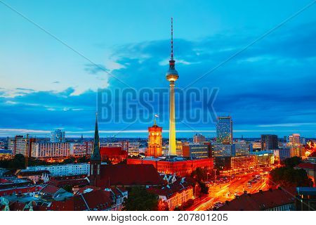 Aerial overview of Berlin Germany at the sunset