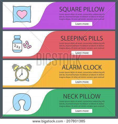 Sleeping accessories web banner templates set. Pillows, alarm clock, sleeping pills. Website color menu items. Vector headers design concepts