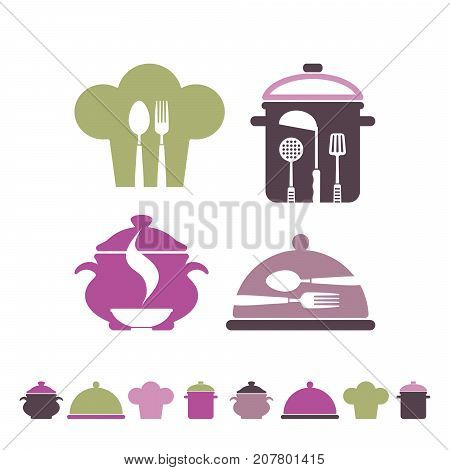 Symbols of cooking, cookery, restaurant and kitchen