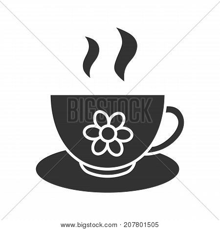 Herbal tea cup glyph icon. Silhouette symbol. Negative space. Vector isolated illustration