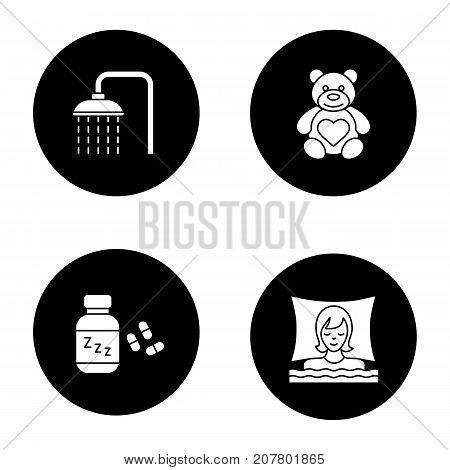 Sleeping accessories glyph icons set. Shower faucet with flowing water, teddy bear, sleeping pills, dreaming woman. Vector white silhouettes illustrations in black circles