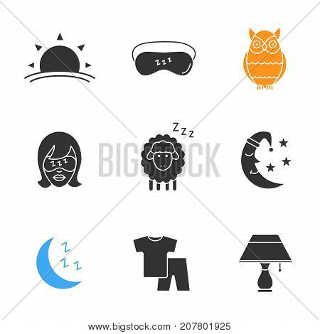 Sleeping accessories glyph icons set. Silhouette symbols. Sunset, woman with sleeping mask, owl, sheep, moon, pajamas, table lamp. Vector isolated illustration