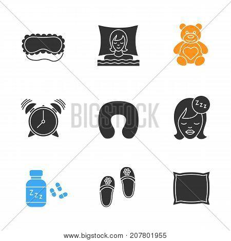 Sleeping accessories glyph icons set. Sleeping women, mask, teddy bear, alarm clock, pillows, soporific, bedroom slippers. Silhouette symbols. Vector isolated illustration