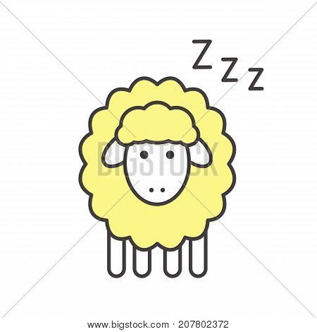 Sheep with zzz symbol color icon. Counting sheep to sleep. Isolated vector illustration