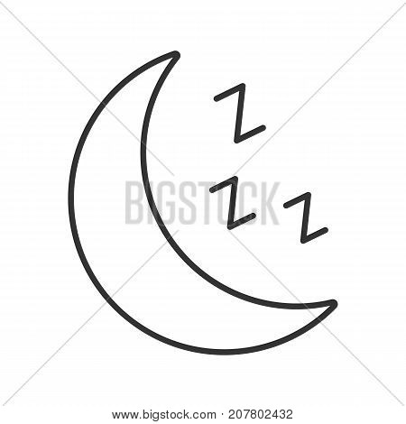 Moon with zzz symbol linear icon. Bedtime. Thin line illustration. Contour symbol. Vector isolated outline drawing poster